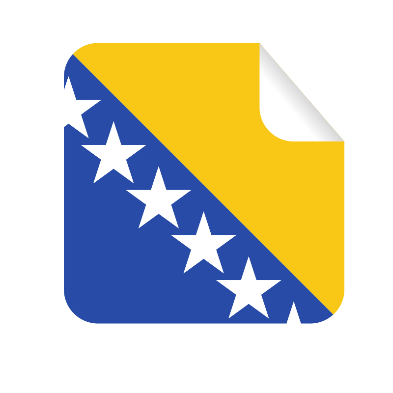Bosnia and Herzegovina flag square sticker