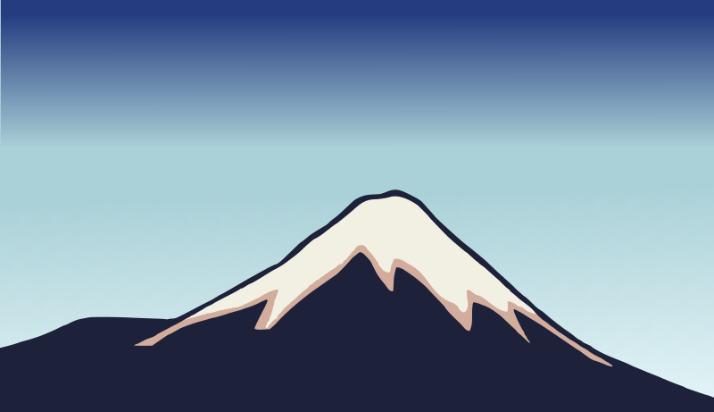 Isolated Woodblock Mount Fuji - Simplified