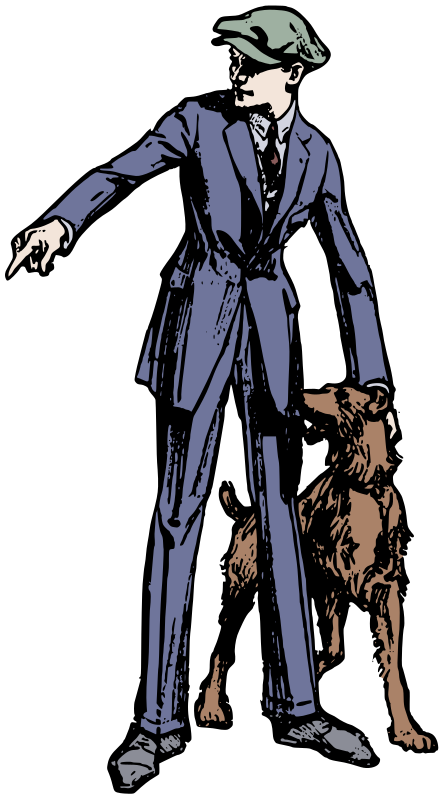 Boy in a Suit with a Dog - Colour