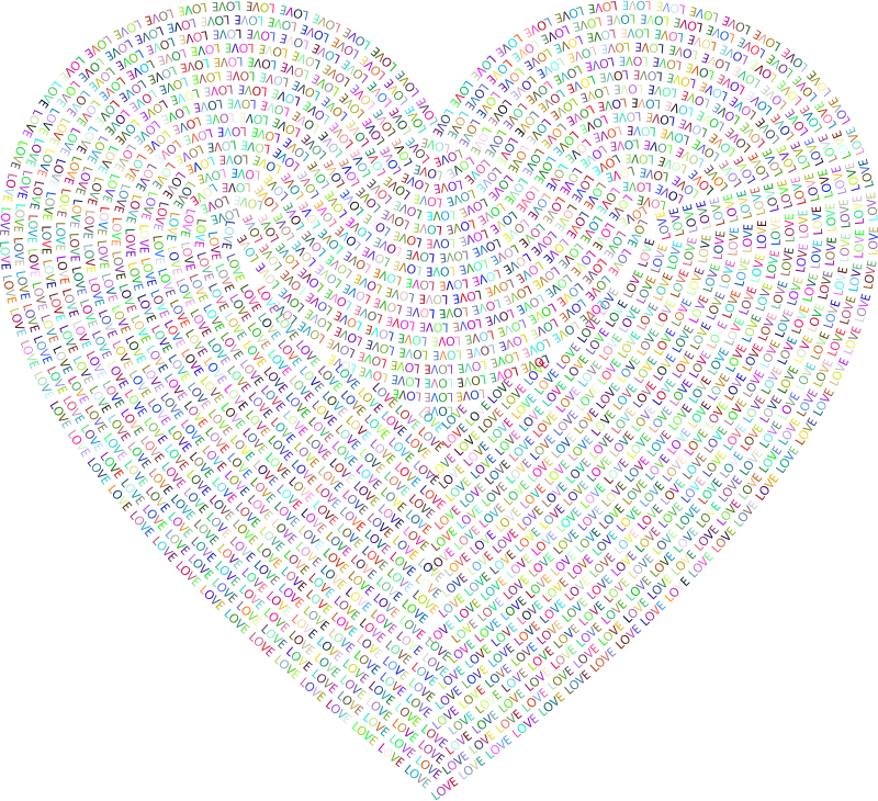 Love Typography Heart Colorful
