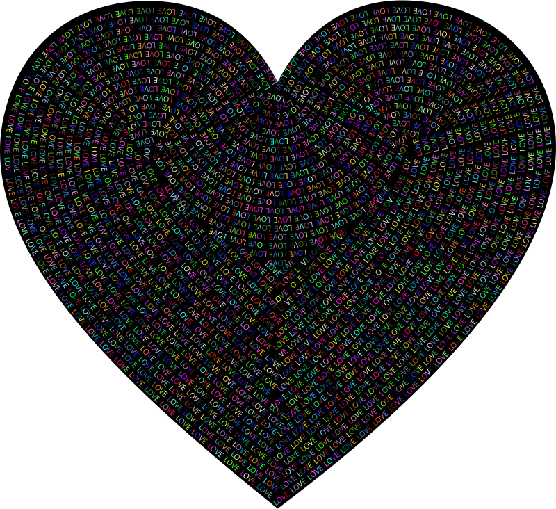 Love Typography Heart Colorful With BG