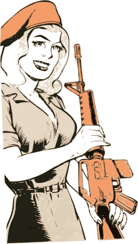 Lady with an M16 Rifle