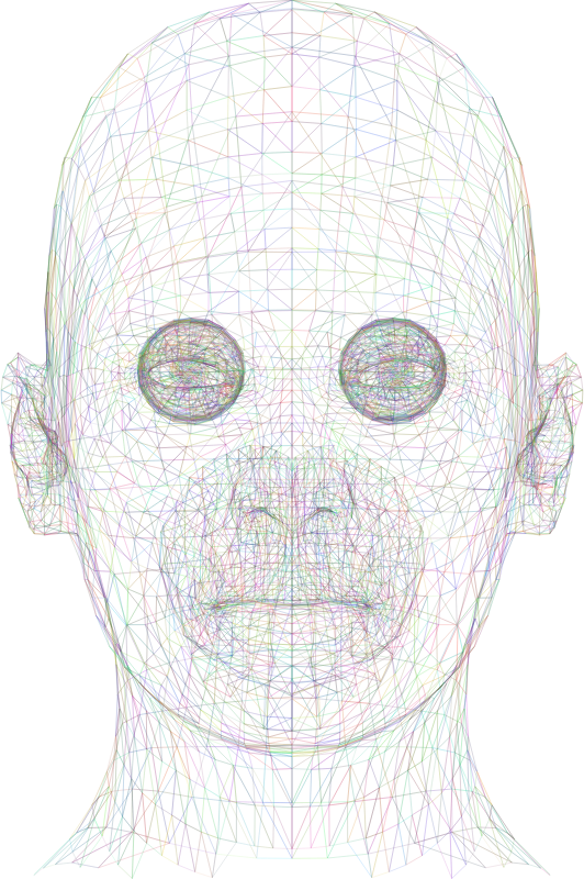 Wireframe Man Head Colorful Strokes