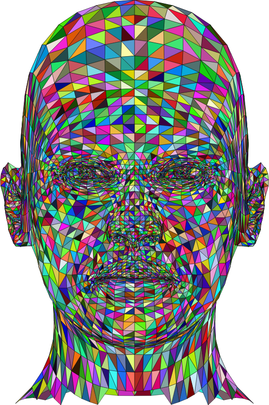 Wireframe Man Head Colorful With Strokes