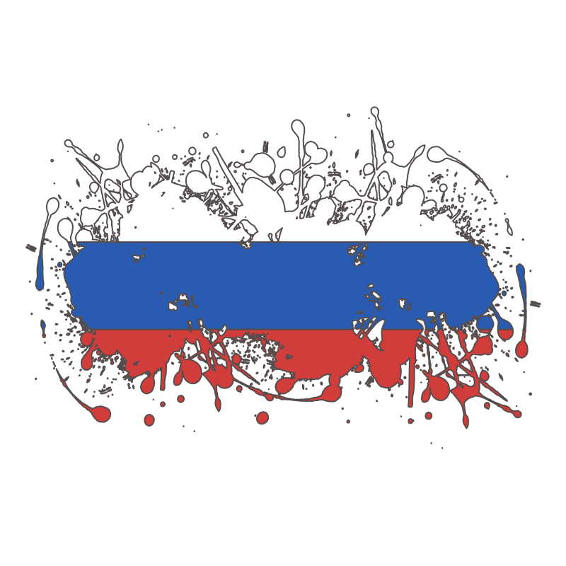 Russian National Flag Splatter Outline Mix