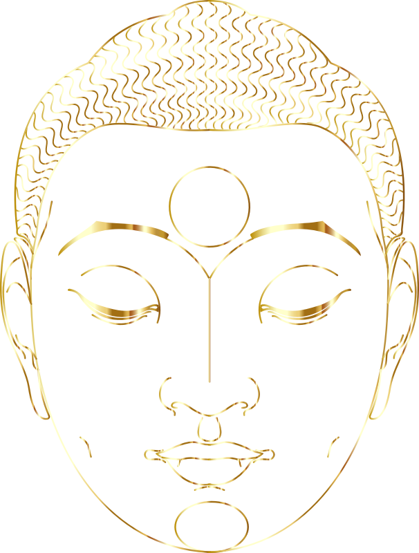 Buddha Face Line Art With Hair Gold No Silhouette
