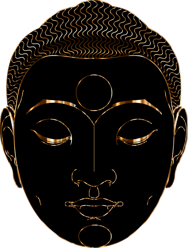 Buddha Face Line Art With Hair Gold 2