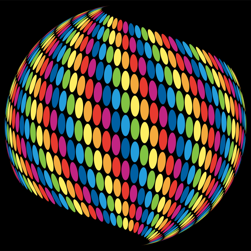 Stylized Circles Sphere Rainbow Colored