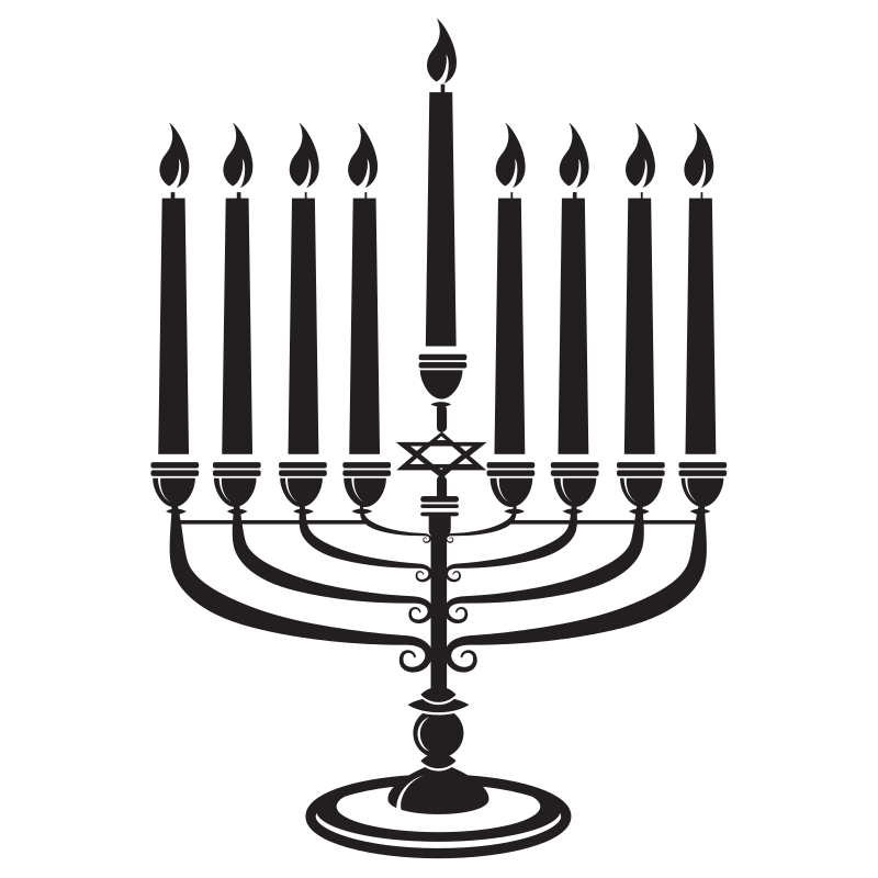 Hanukkah candles silhouette