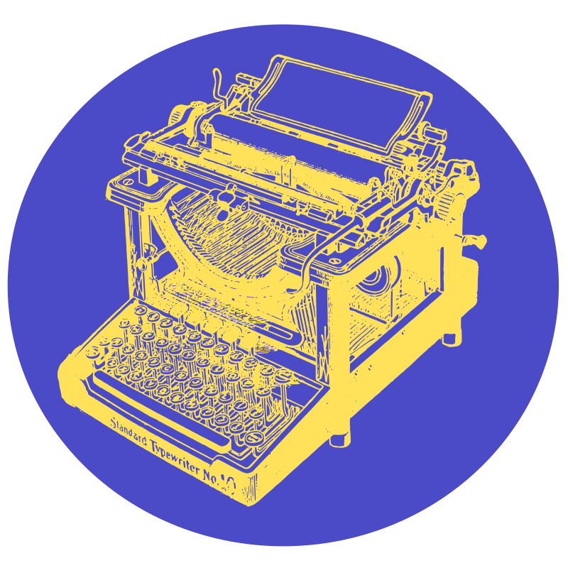 Typewriter in Blue Circle