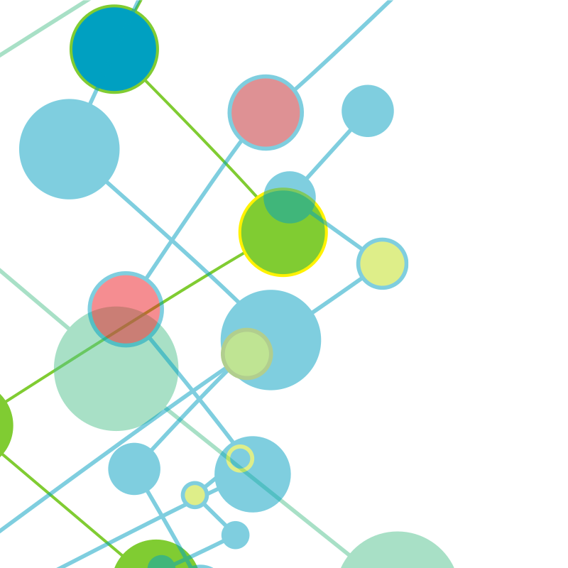 Coloured circles network clip-art