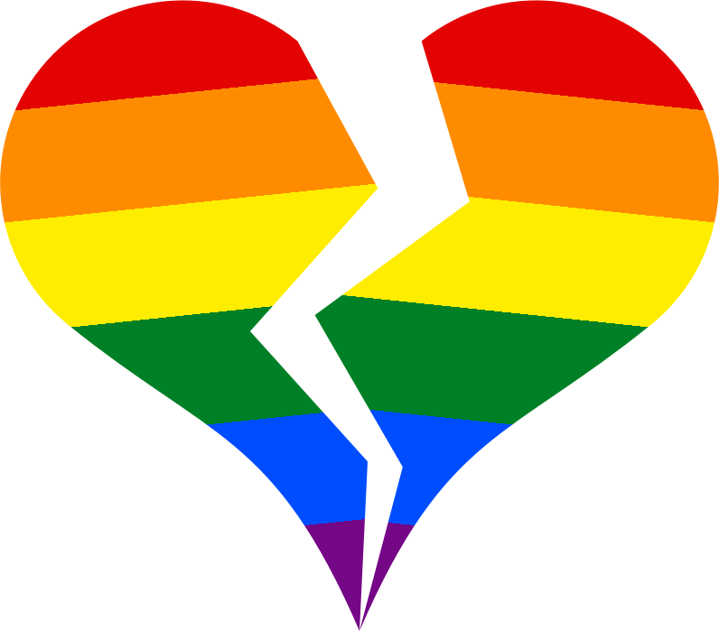 Broken heart with gay pride colors