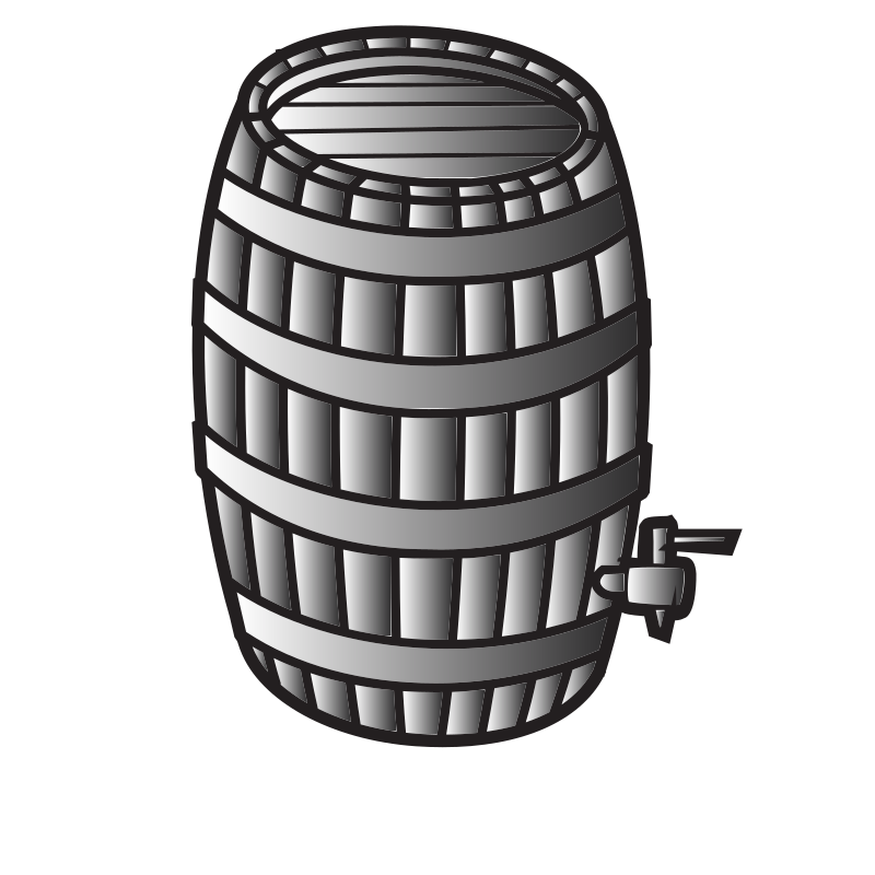 A barrel for wine or whiskey