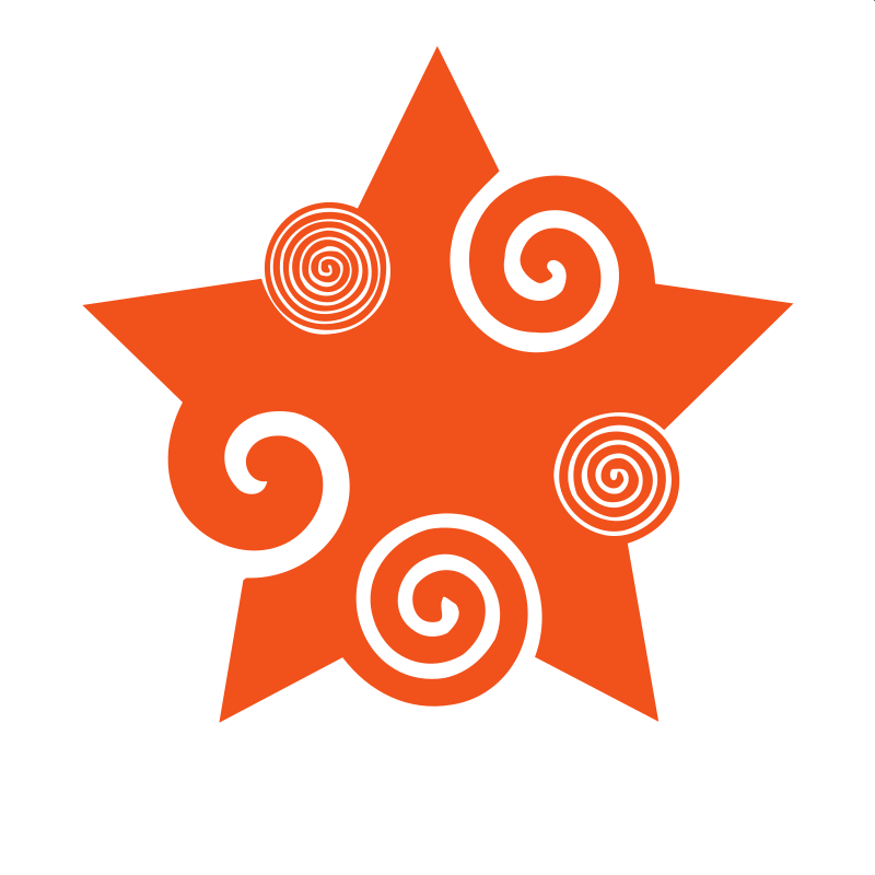 Orange colour star decorative design element