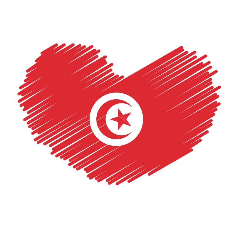 Tunisian flag heart symbol