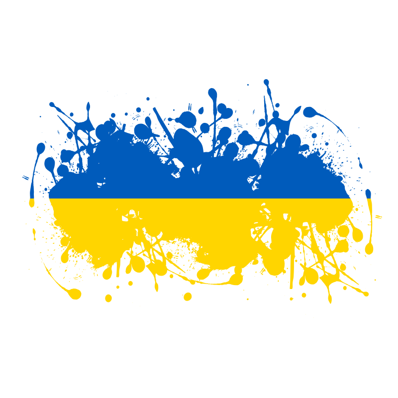 Ukrainian flag ink blot