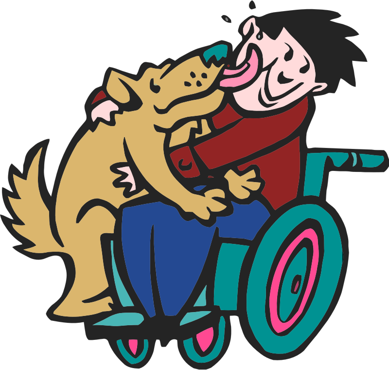 dog with boy in wheelchair