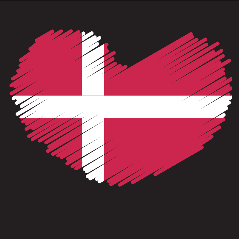 Danish flag heart symbol
