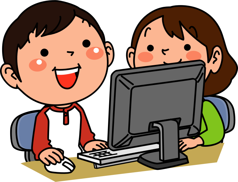 Children using desktop computer