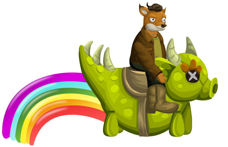 Fox Rainbow Dragon Rider
