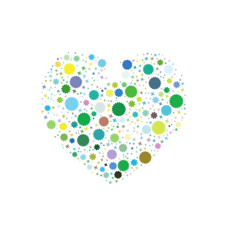 Heart silhouette with green circles