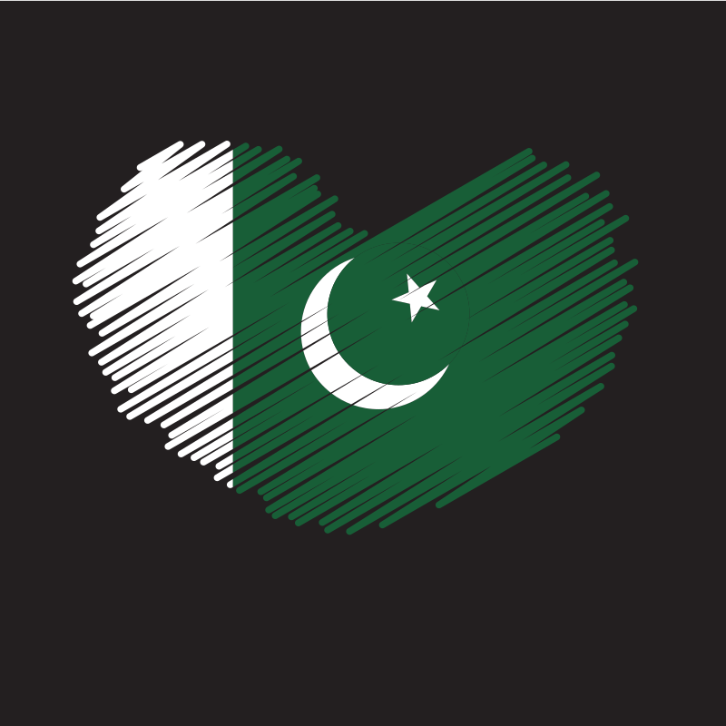 Pakistan flag heart shape