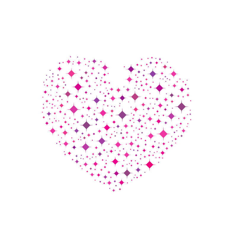 Heart silhouette with diamond pattern