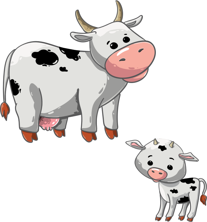 cartoon dairy cow and calf