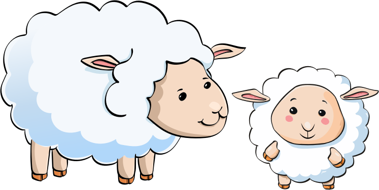 cartoon sheep and lamb