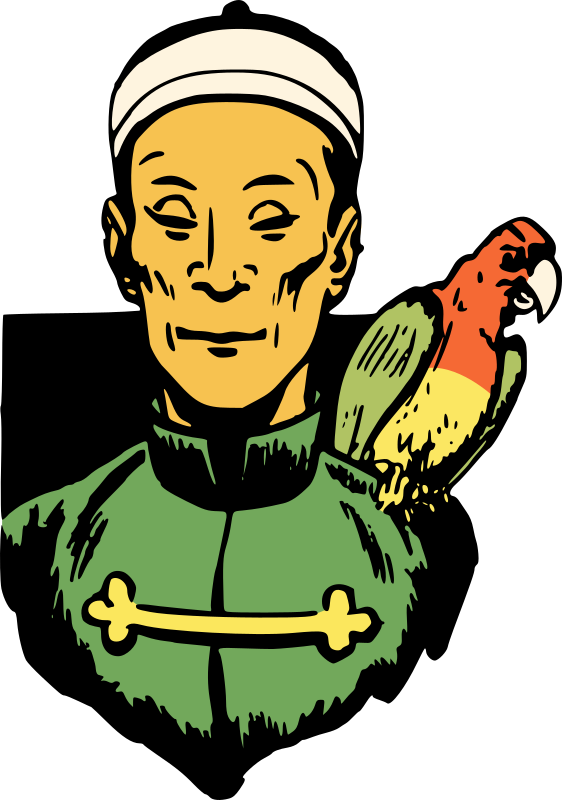 Chinese man with parrot