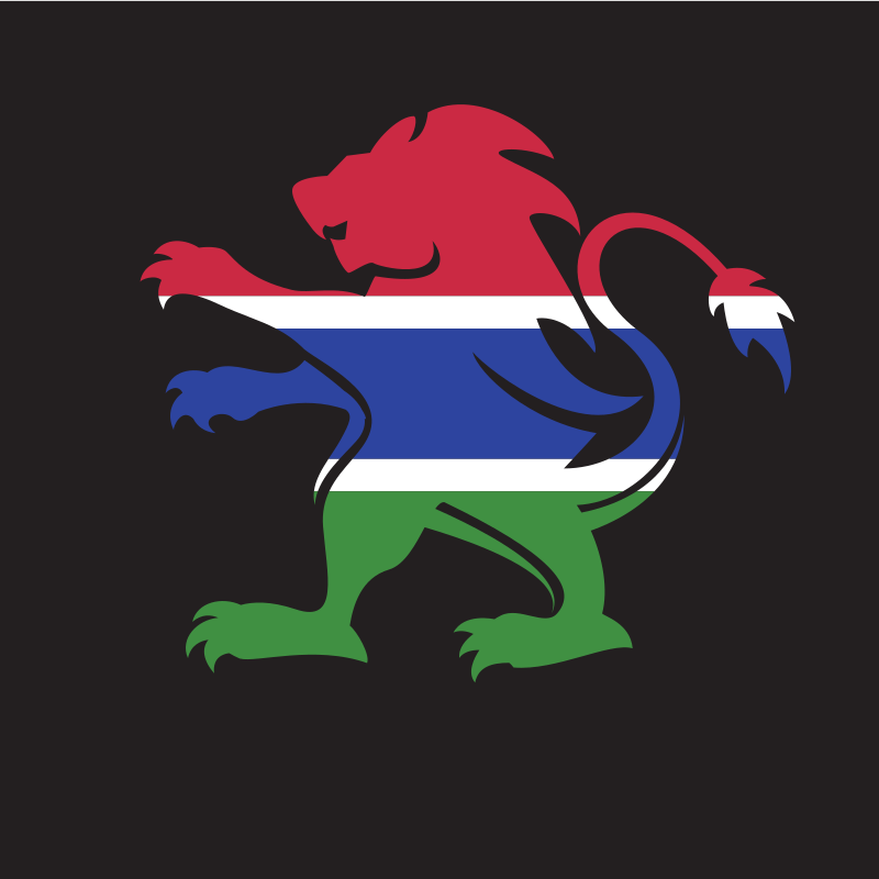 Gambia flag lion crest