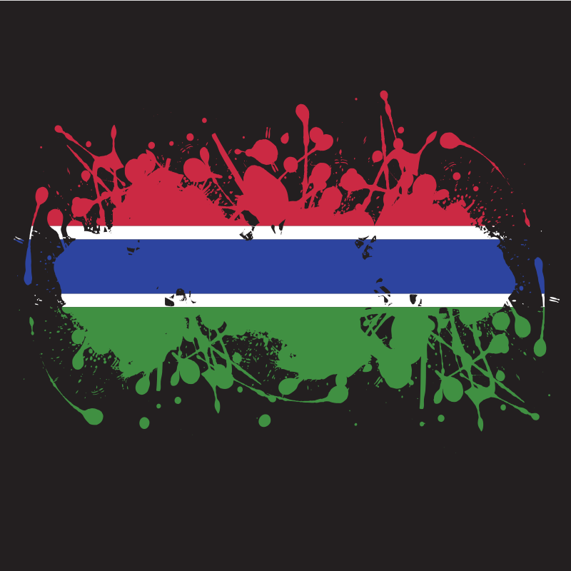 Gambia flag ink splatter
