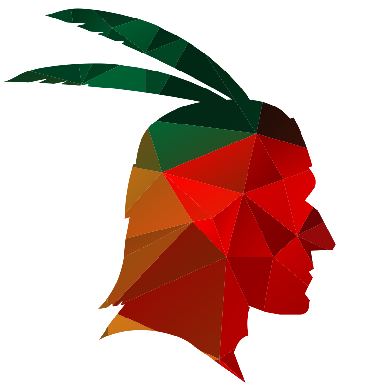 American native chief color silhouette