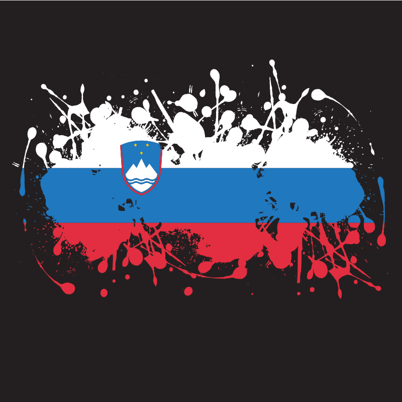 Slovenian flag ink splash