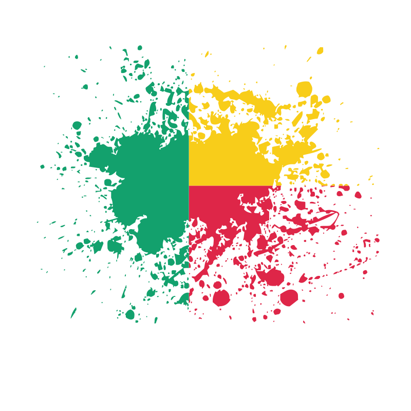 Benin flag ink splatter