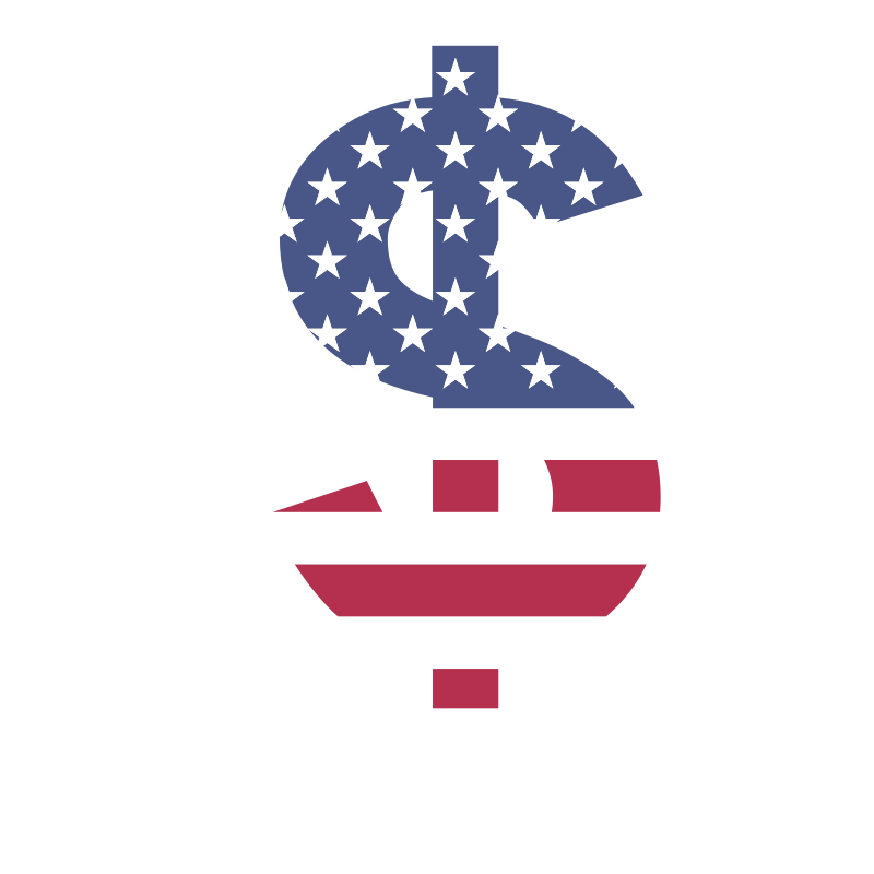 Dollar sign USA flag