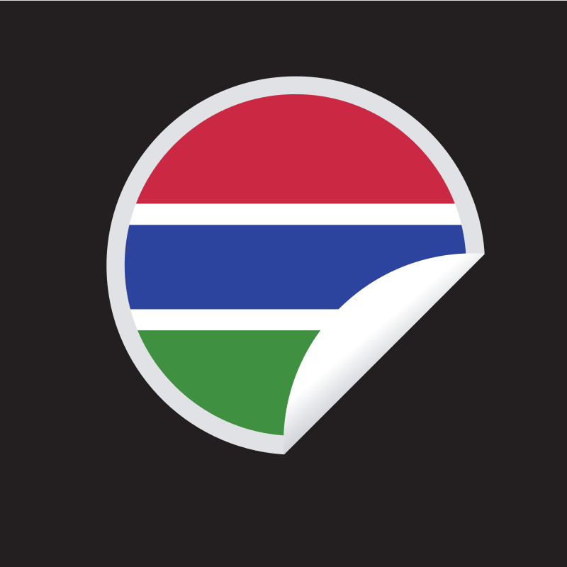 Gambian flag round sticker