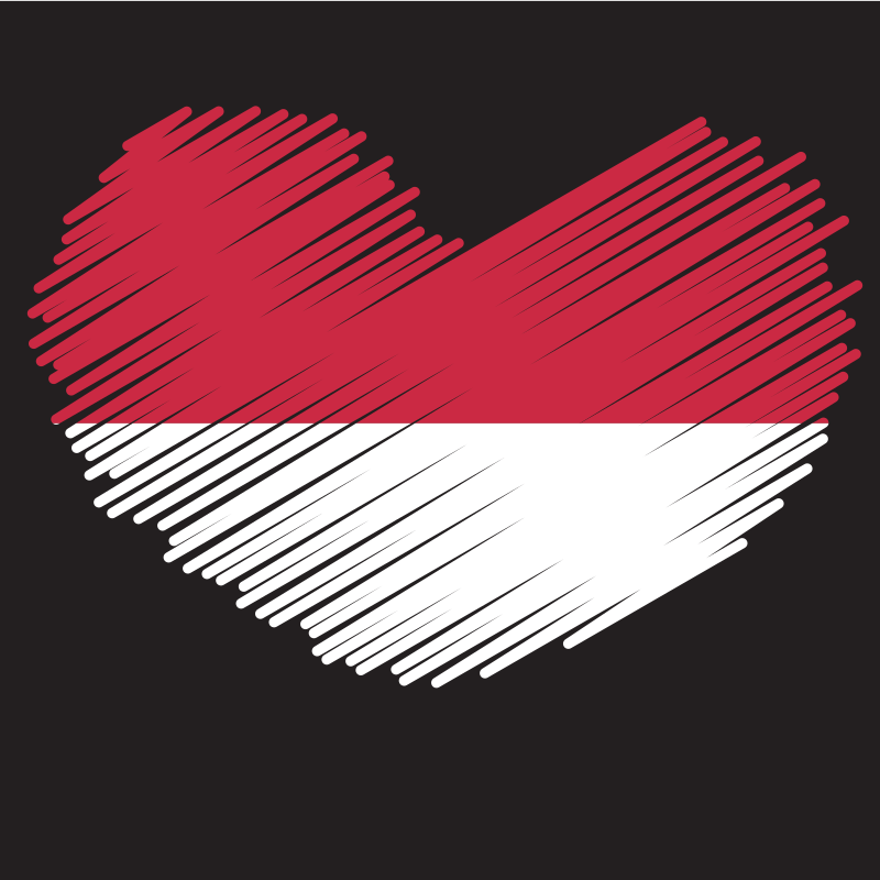 Indonesian flag heart shape