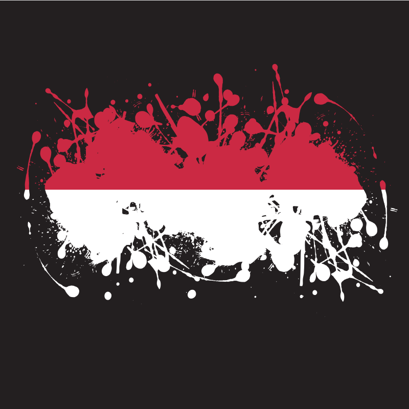 Indonesian flag ink splatter