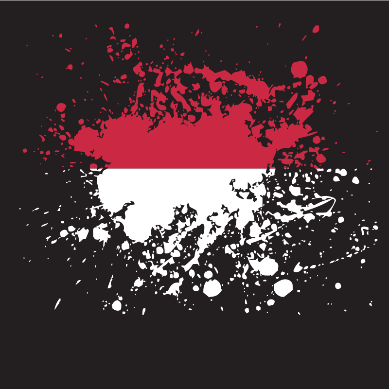 Indonesian flag ink splash