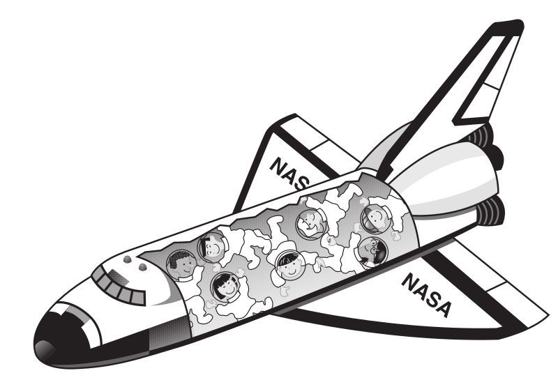 Space shuttle with kids floating inside it