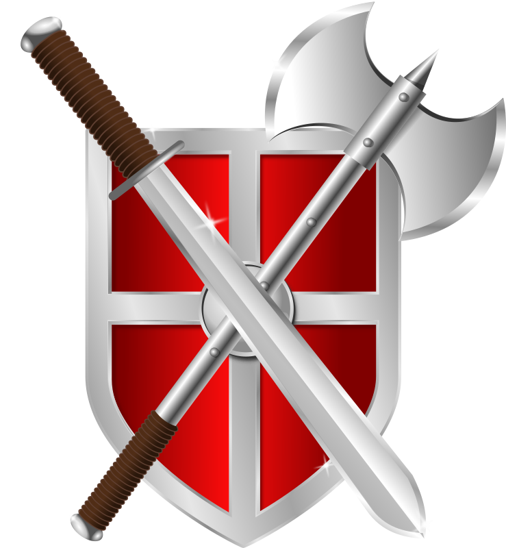 sword, battleaxe & shield