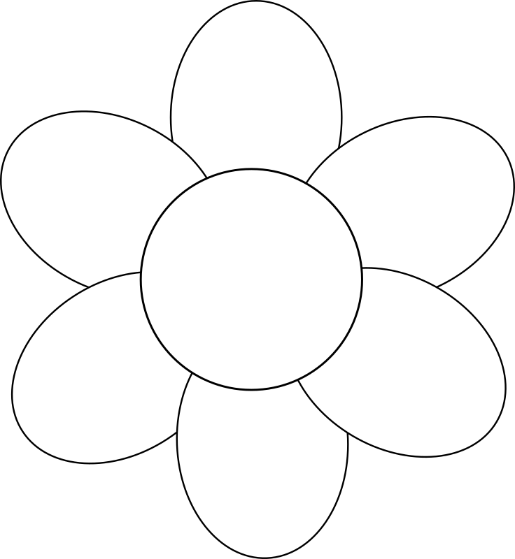 Flower six petals black outline