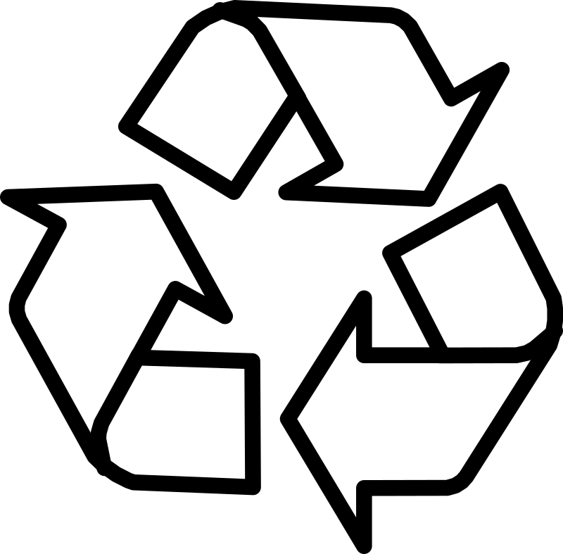 Recycling Symbol 3 Arrows Black Outline
