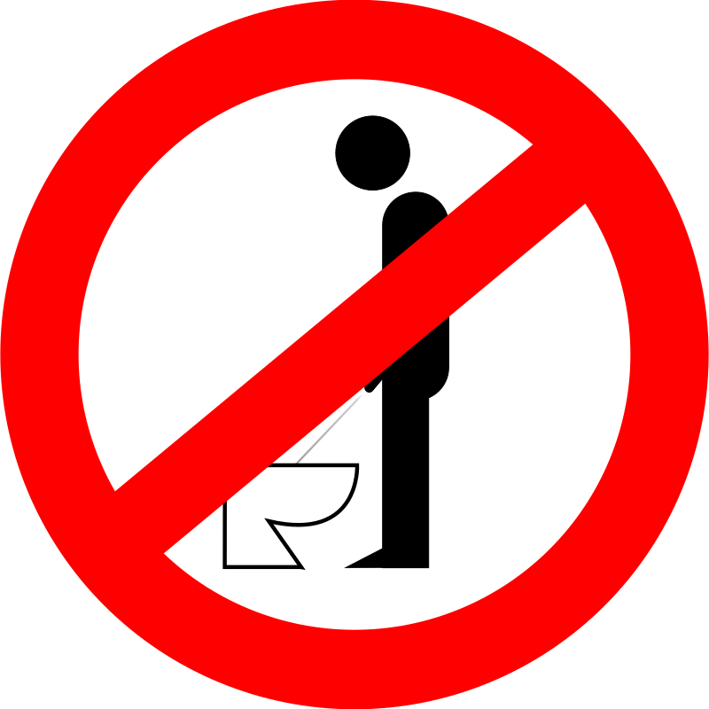 urinating while standing is forbidden