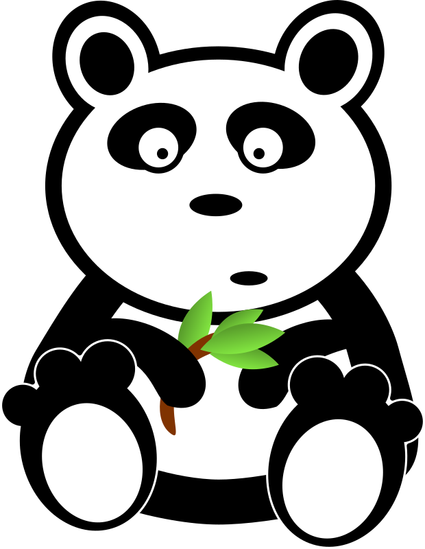 Panda with bamboo leaves