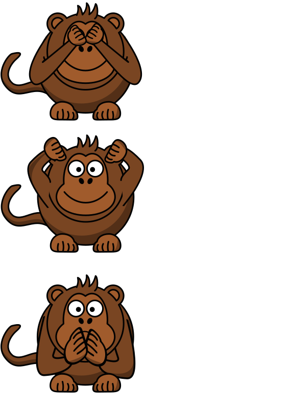 see/hear/speak no evil monkey