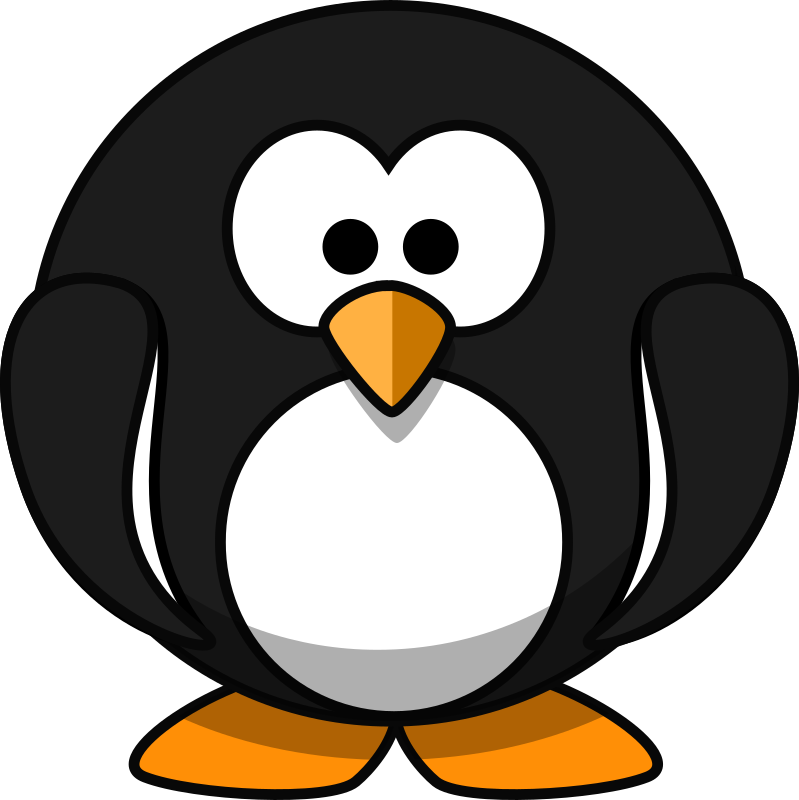 Cute round cartoon penguin (flat colors)
