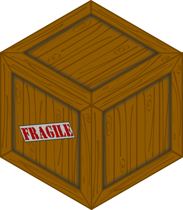 Isometric wooden crate
