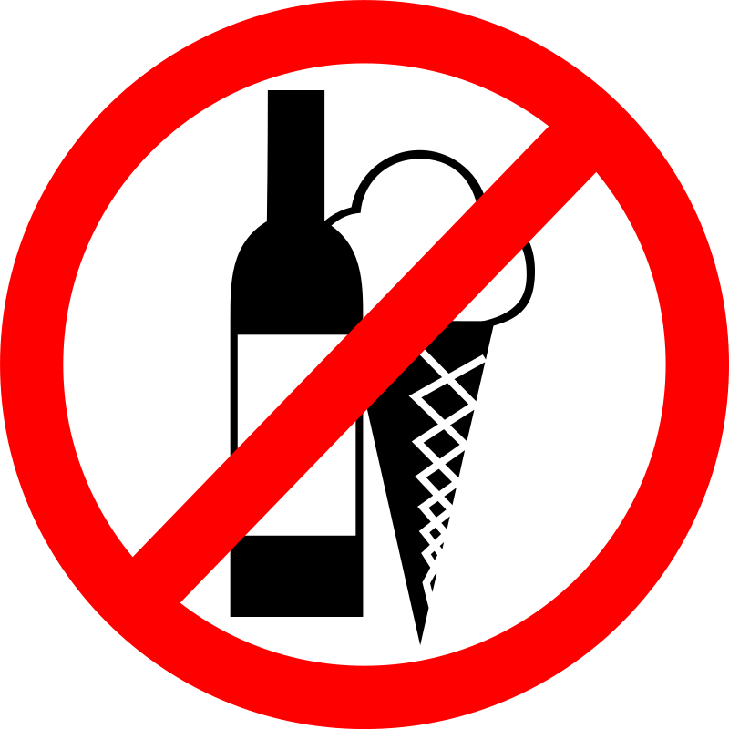 "Sign ""No Drinks, No Ice Cream"""